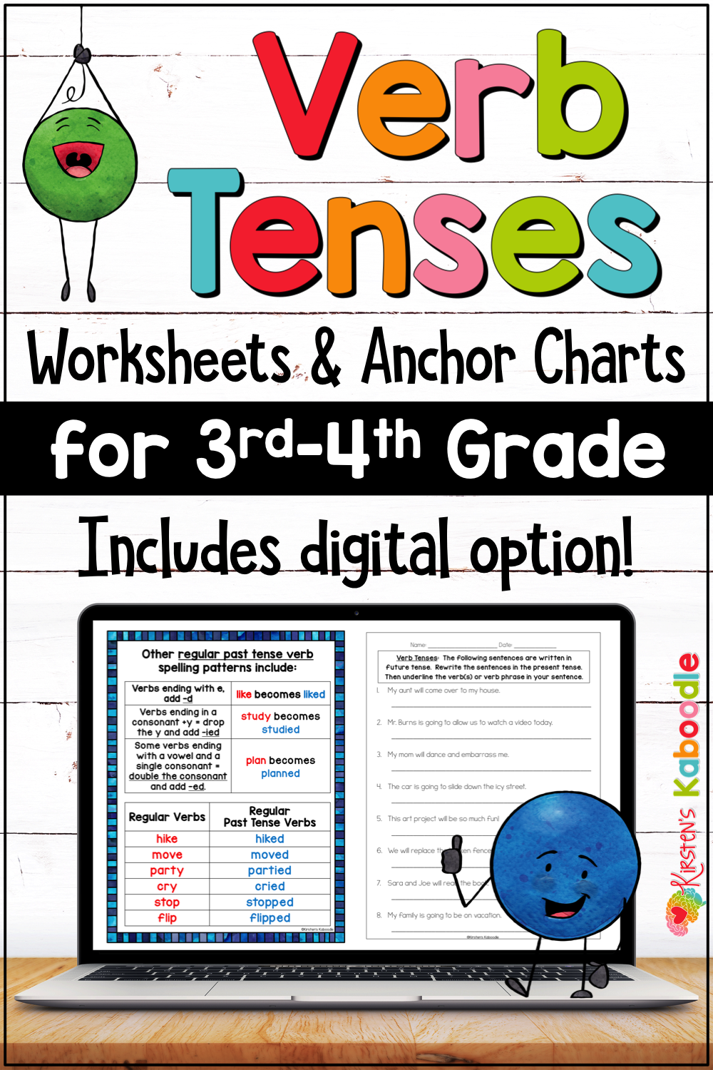 Verb Tenses Anchor Charts Activities And Worksheets With Google Slides Option For 3rd 4th Grade Verb Tenses Verbs Anchor Chart Anchor Charts [ 1500 x 1000 Pixel ]