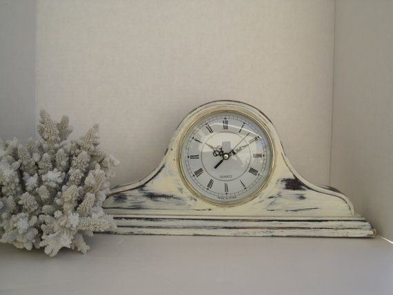 Shabby Rustic Old White Mantle Clock Mantle Clock Clock Fireplace Mantels