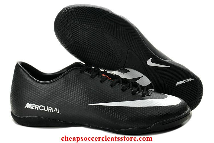 4fe359e4928 Nike Mercurial Victory IV ACC IC Indoor Soccer Shoes For Cheap Black White  Soccer Cleats