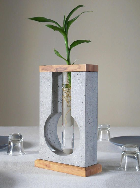 Table concrete vase for minimal flower, concrete sculpture vase table decor, centre piece decor glass tube flower holder, girlfriend gift