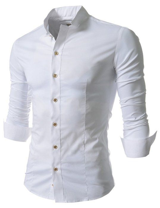 Easy Mens Retro Stand Up Collar Long Sleeve Slim Fit Dress Shirts L White