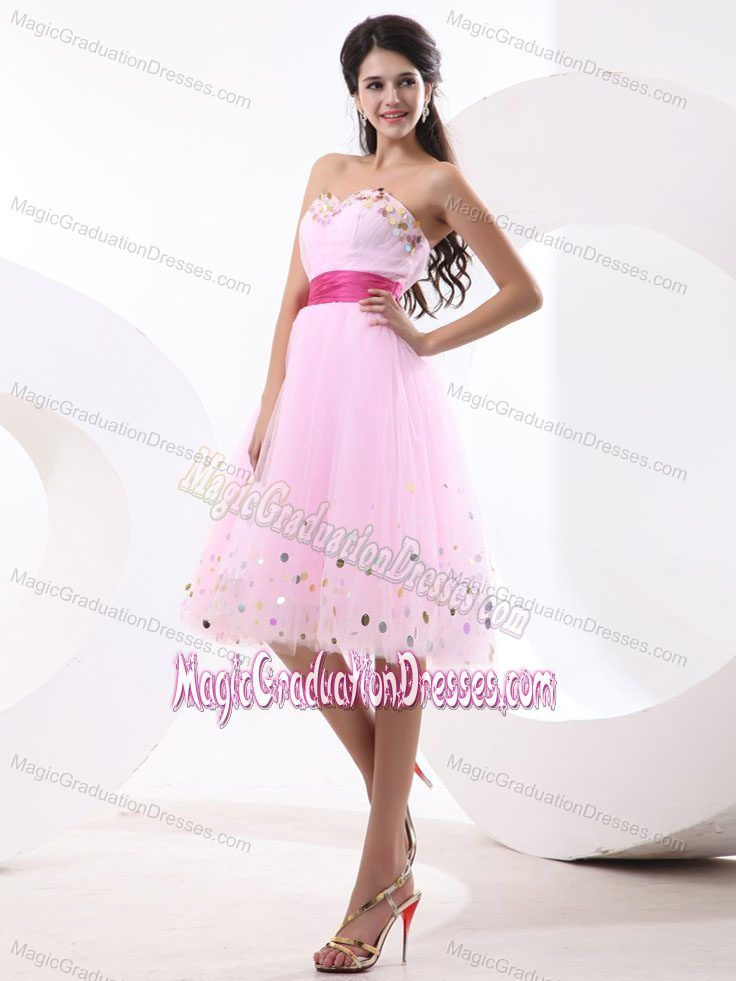 Knee-length College Graduation Dress in Baby Pink with Sash in ...