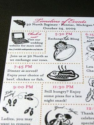 Wedding Weekend Timeline Cards Similar To A Relationship Save The Date Idea