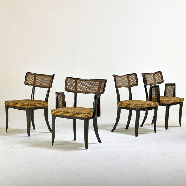 Edward Wormley; Mahogany and Wicker Dining Chairs, 1940s.