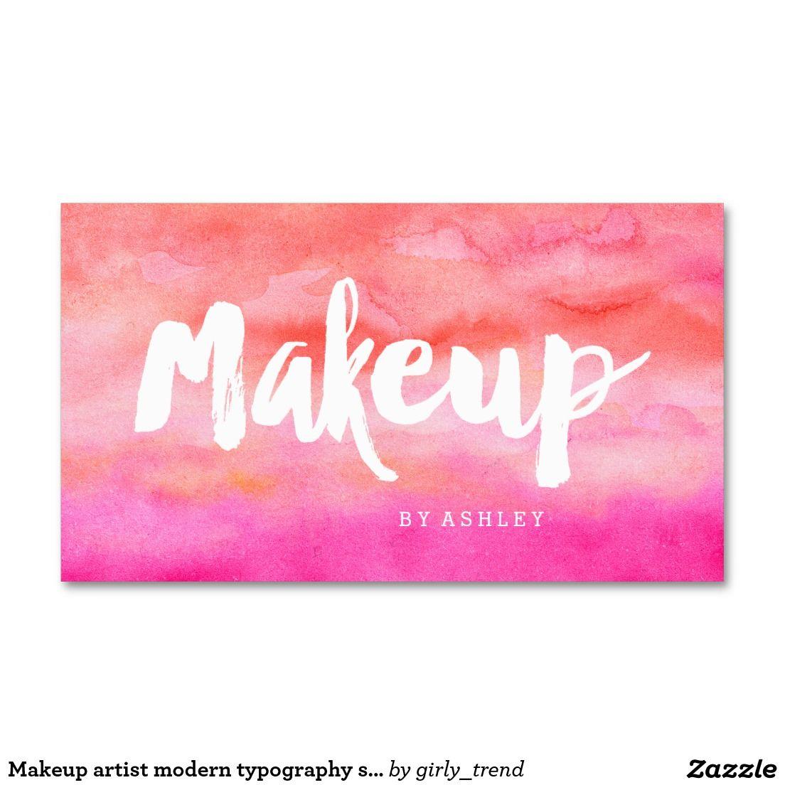 Makeup artist modern typography sunset watercolor business card makeup artist modern typography sunset watercolor business card reheart Image collections