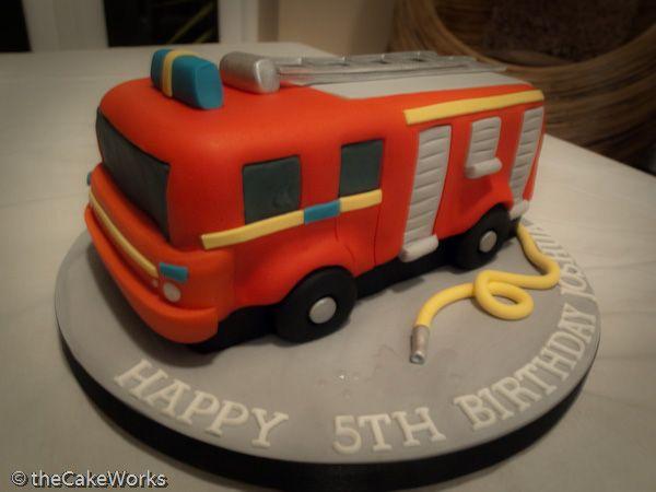 D Fireengine Fire Engine Cakes Pinterest Fire Engine - Car engine birthday cake