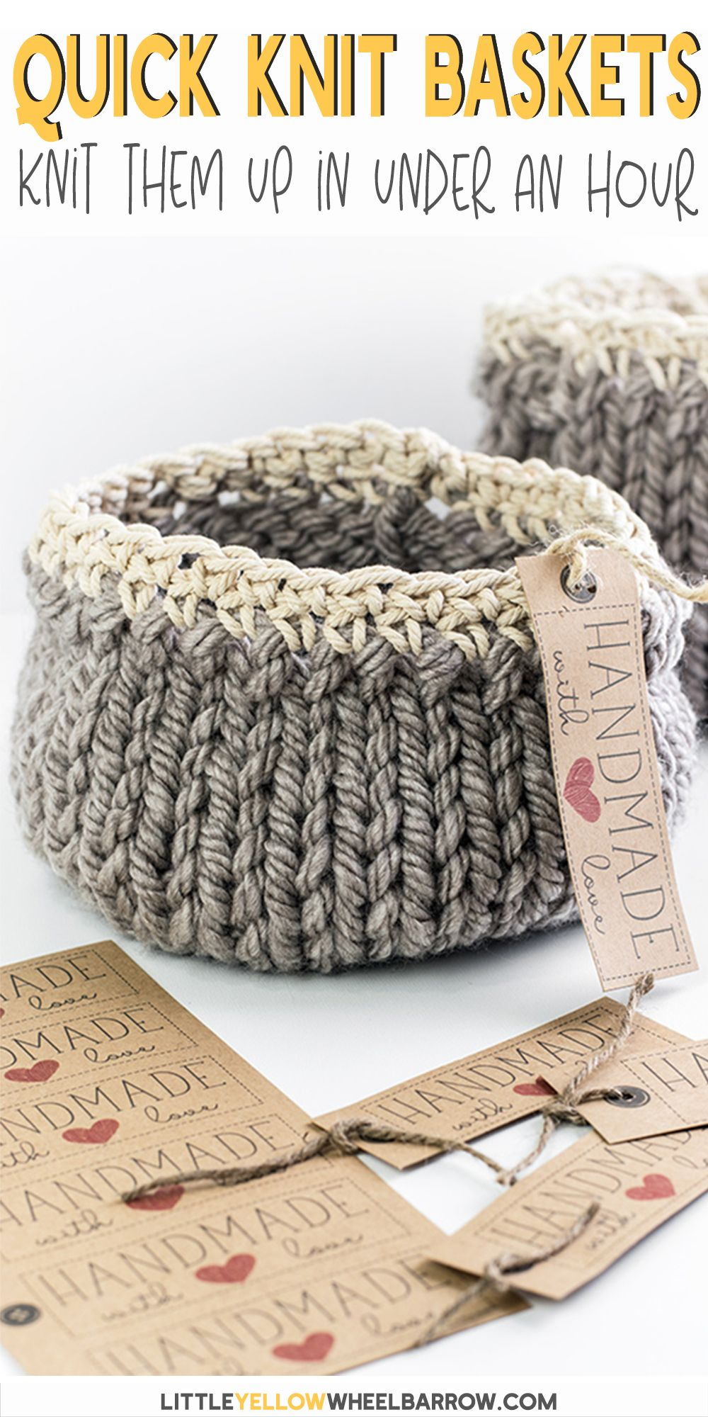 Free DIY Basket Pattern you can Knit up in a Flash #loomknitting