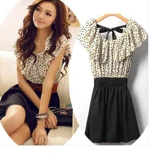 Ropa Coreana Para Mujer Vestido Chiffon Dress Short Mini Dress Casual Chiffon Mini Dress