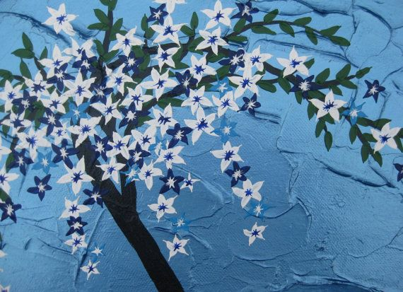 Japanese Cherry Blossom Tree Painting Tree Of Life On Canvas Light And Bright Metallic Blue With Text Tree Painting Cherry Blossom Tree Japanese Cherry Blossom