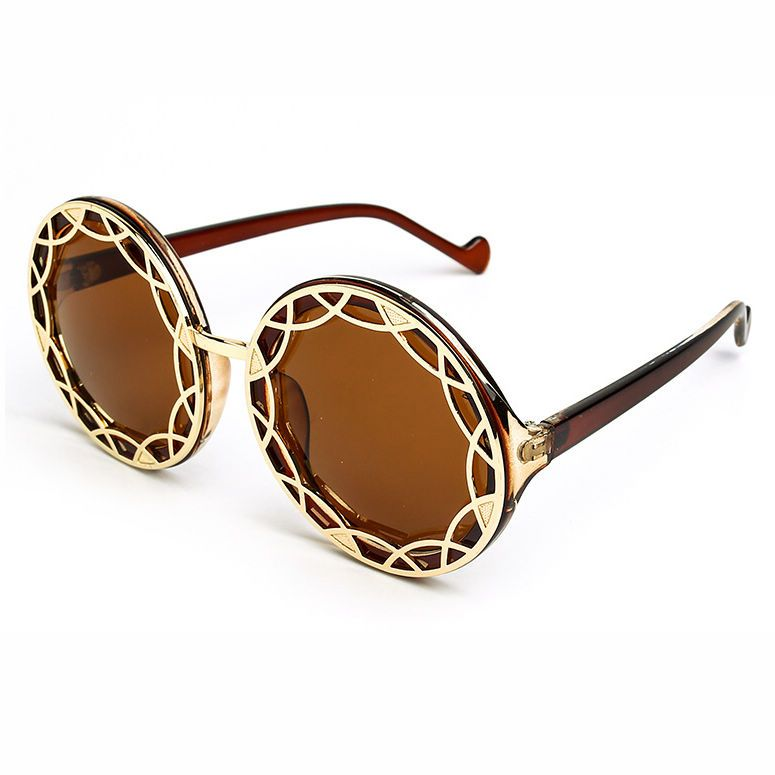 Acetate & Gold-Tone Metal Round Shaped Sunglasses Brown