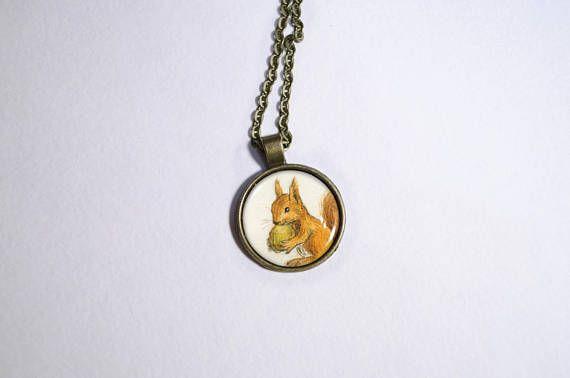 Watercolor squirrel necklace orange squirrel pendant original etsy watercolor squirrel necklace orange squirrel pendant original aloadofball Gallery