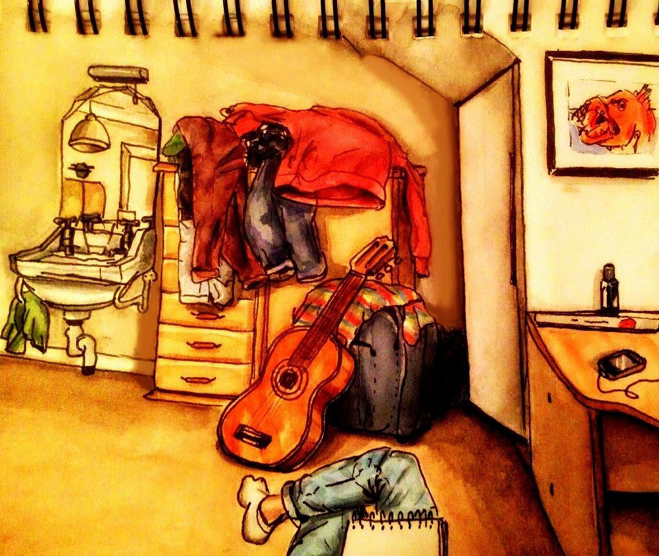 My bedroom, watercolour