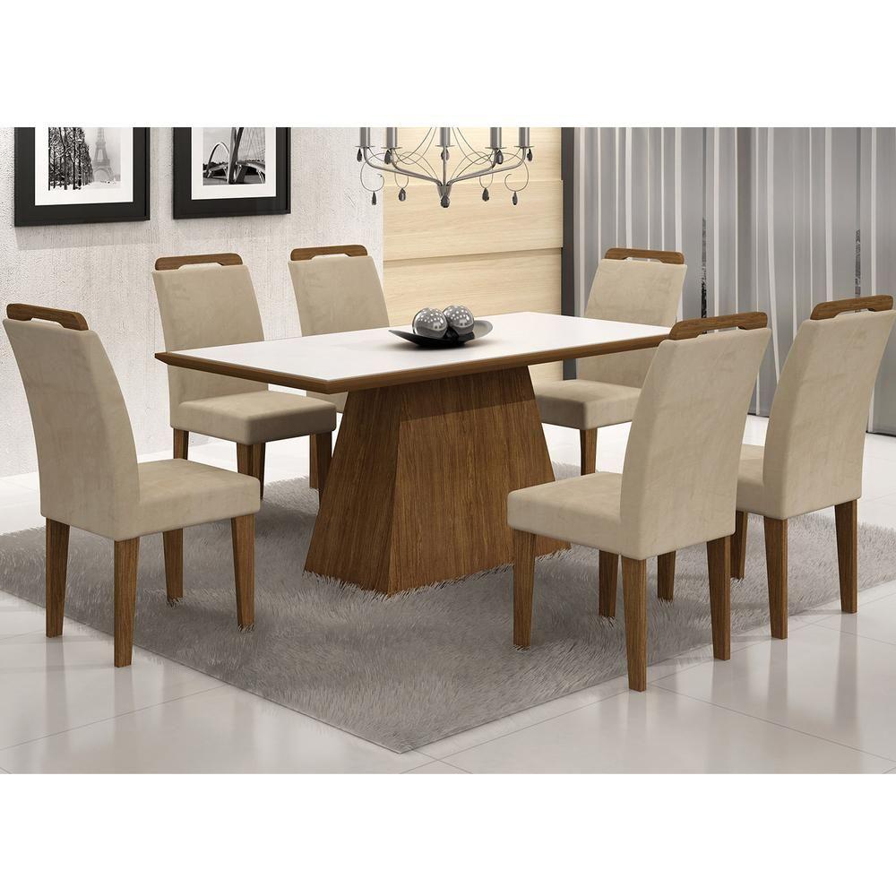 Conjunto Sala De Jantar Mesa Vidro Branco Luna 6 Cadeiras Athenas  -> Sala De Jantar Pequena Pontofrio