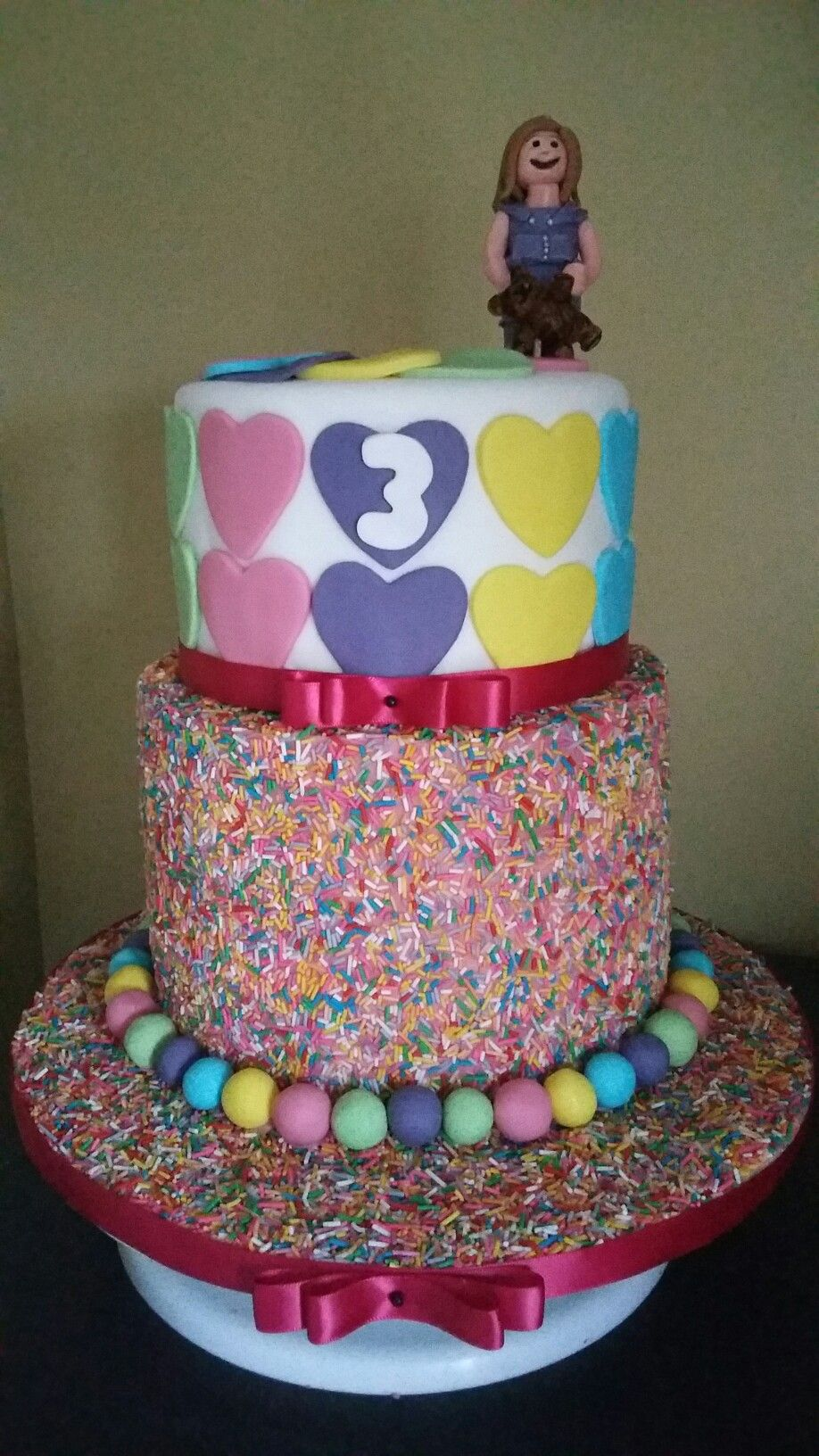 Toddler rainbow sprinkles 2 tier cake, American flavours ...
