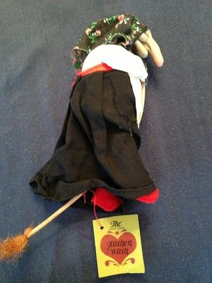 Vintage Norwegian Good Luck Kitchen Witch Doll Flying Broom W Tag On Ebay Kitchen Witch Witch Doll Halloween Witch Dolls