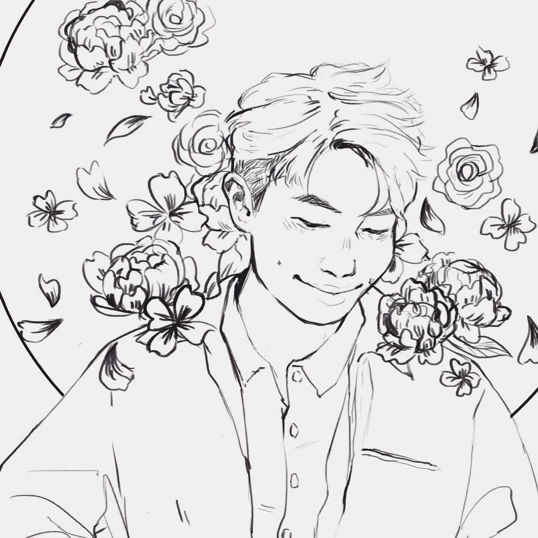 My Piece For The Bts Coloring Book Project I Can T Lineart I M Sorry But I Hope You Like It I Won T Be Post You Dont Deserve Me Book Projects Sketch