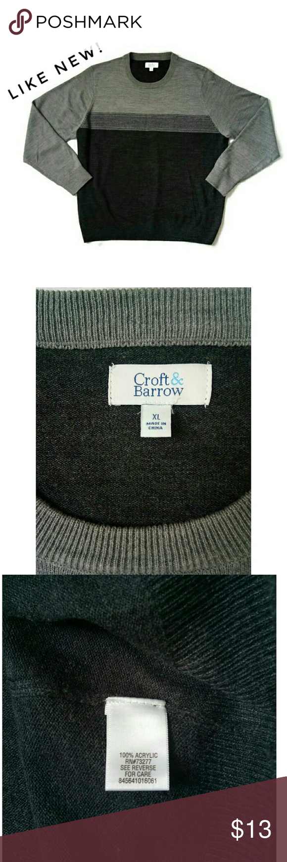 Men S Croft Barrow Crewneck Sweater Like New My Husband Washed And Tried It On Once It S Too Short For Him 100 Crew Neck Sweater Clothes Design Sweaters [ 1740 x 580 Pixel ]