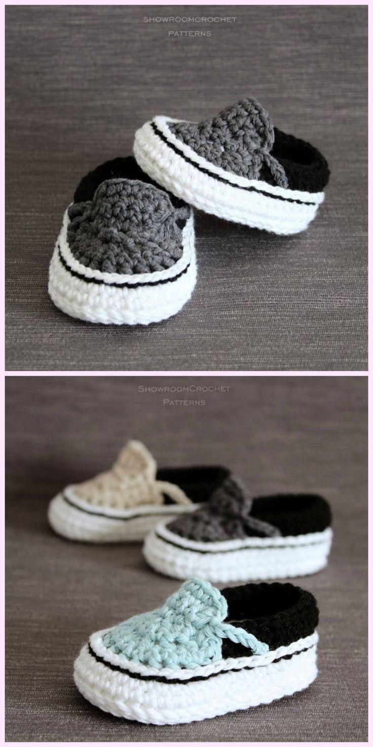 Häkeln Sie Vans Style Baby Sneakers Häkelanleitung #crochetmotif