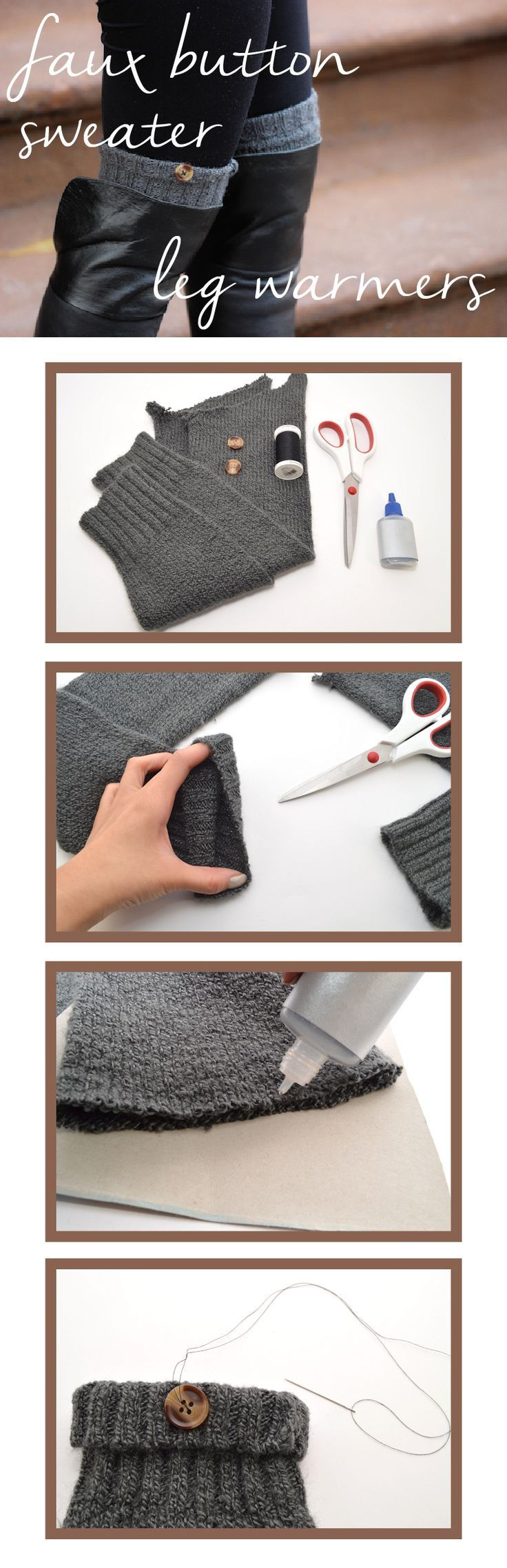 Simple DIY faux button sweater leg warmers that make great gifts! www.ehow.com/...