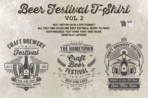 319d2613 Beer Festival T-Shirt Vol. 2 ~ Logo Templates on Creative Market ...