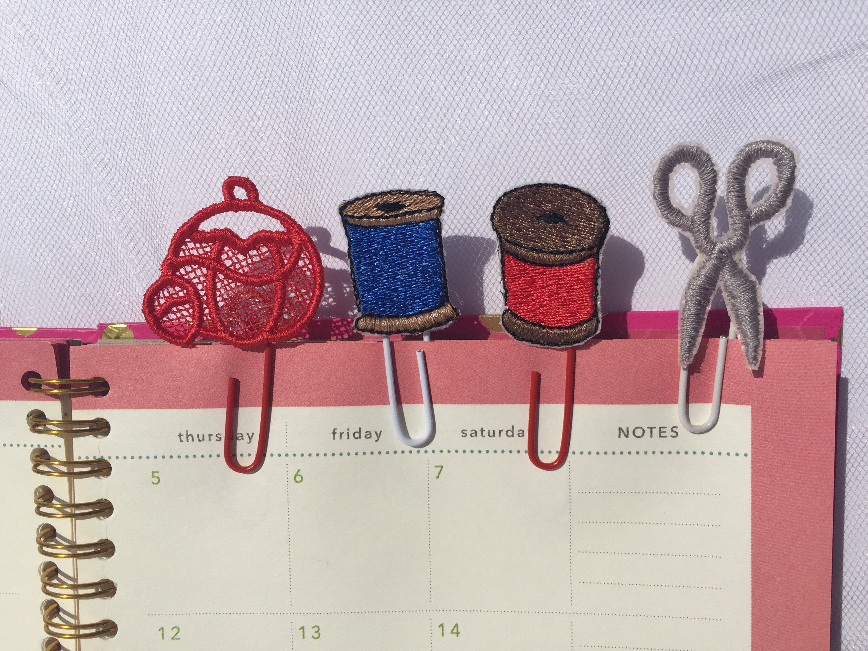 Excited to share this item from my #etsy shop: Embroidered Pincushion Planner Clip, Pincushion Decor, Paper Clips, Sewing Planner Clip, FSL, Pincushion, Bookmark, Sewing Room Decor #bookmark #sewingdecor #laceplannerclip #embroideryaddict #plannerlove