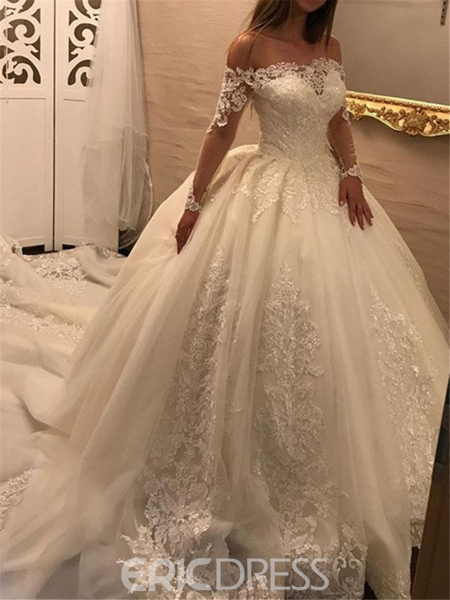 Ericdress off the shoulder long sleeves ball gown appliques wedding