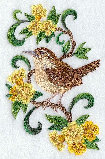 Carolina Wrenate Bird And Yellow Jessamineate Flower