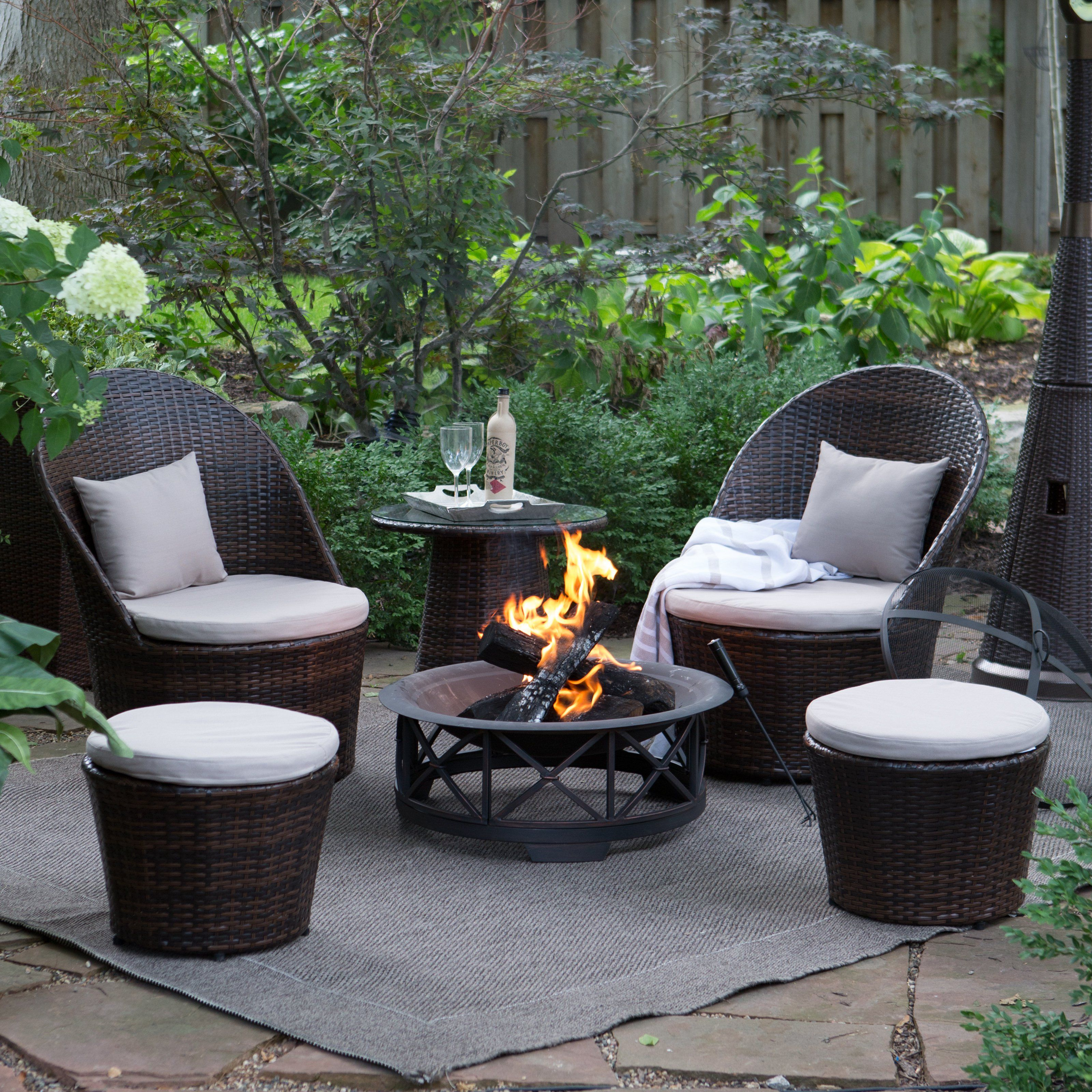coral coast layton wicker outdoor fire pit chat set tea coffee
