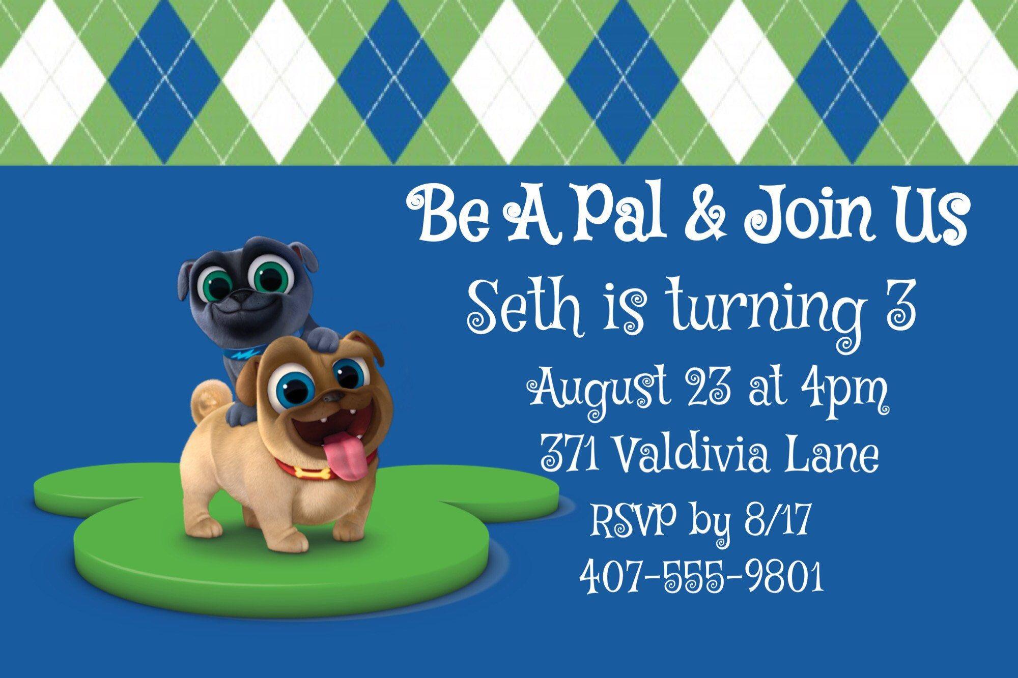 Puppy Dog Pals Invitations Rolly Bingo Disney Junior By Thefestivechick On Etsy Dog Birthday Party Twins 1st Birthdays Dog Birthday