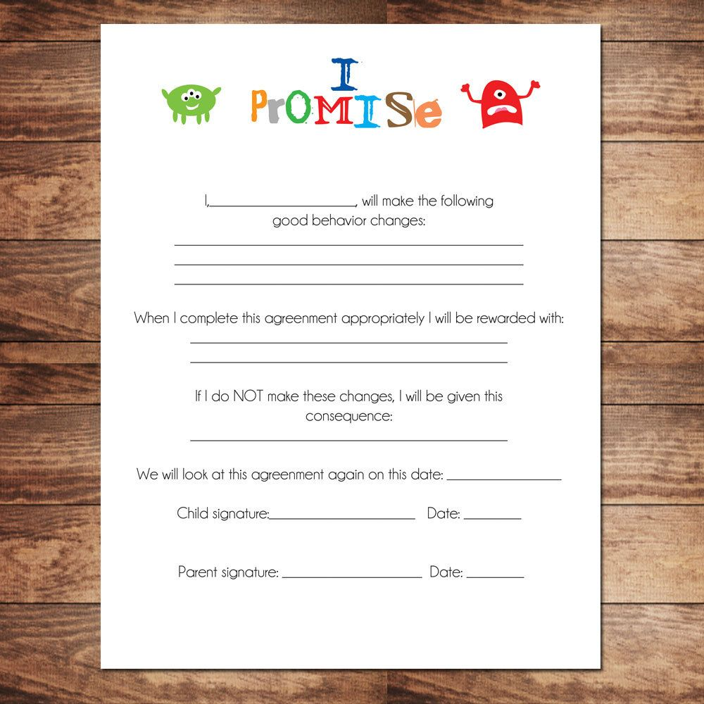 Printable Boys Contract Behavioral Chart  The Organized Mom