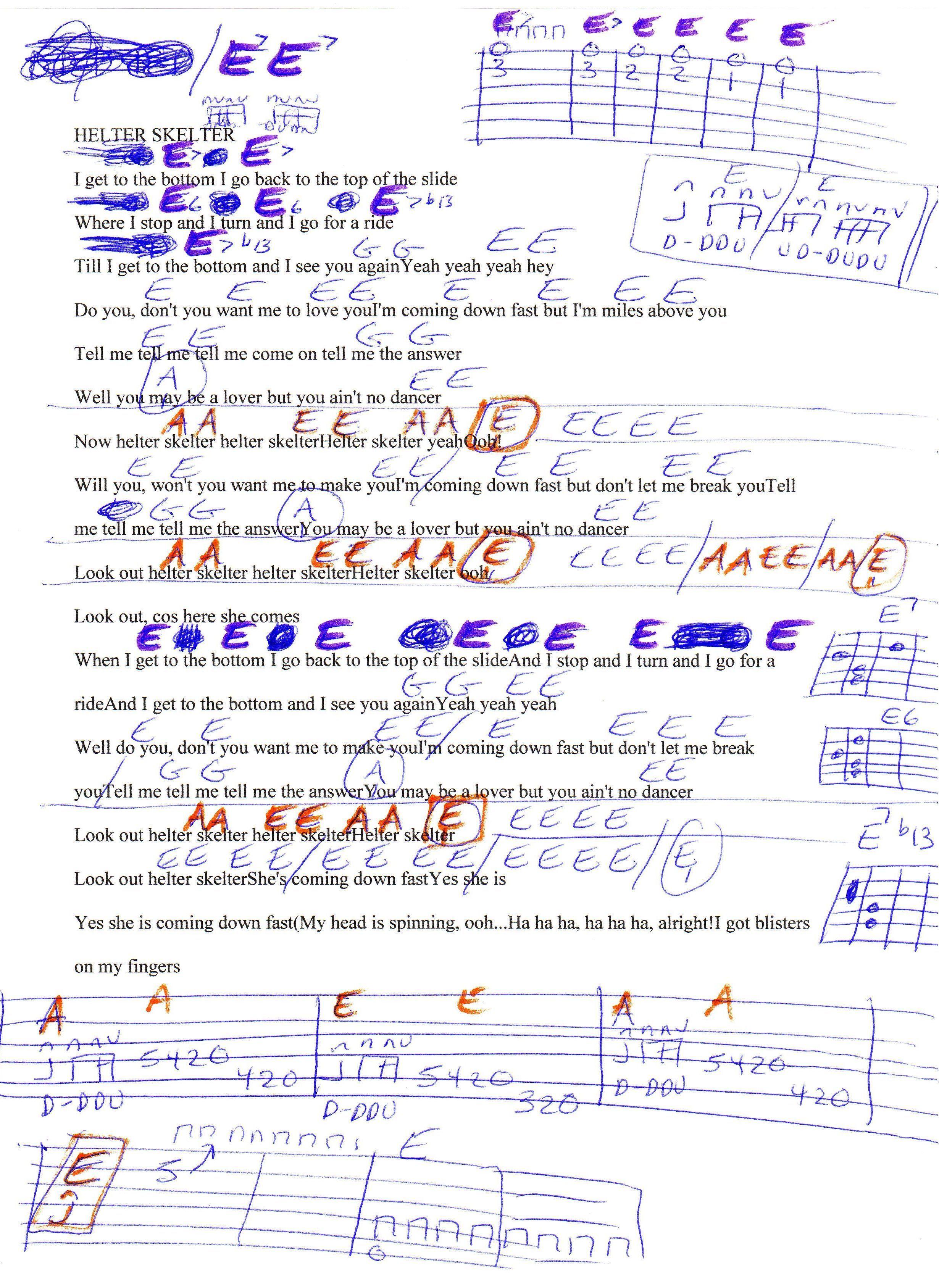 Helter Skelter Beatles Guitar Chord Chart Guitar Crank Do