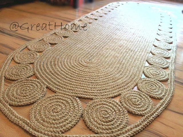Jute Rug 270 90 Cm Unique Floor Decor Hallway Rug Oval Crochet Rug Long Runner Rug No 030 Crochet Rug Natural Jute Rug Crochet Carpet