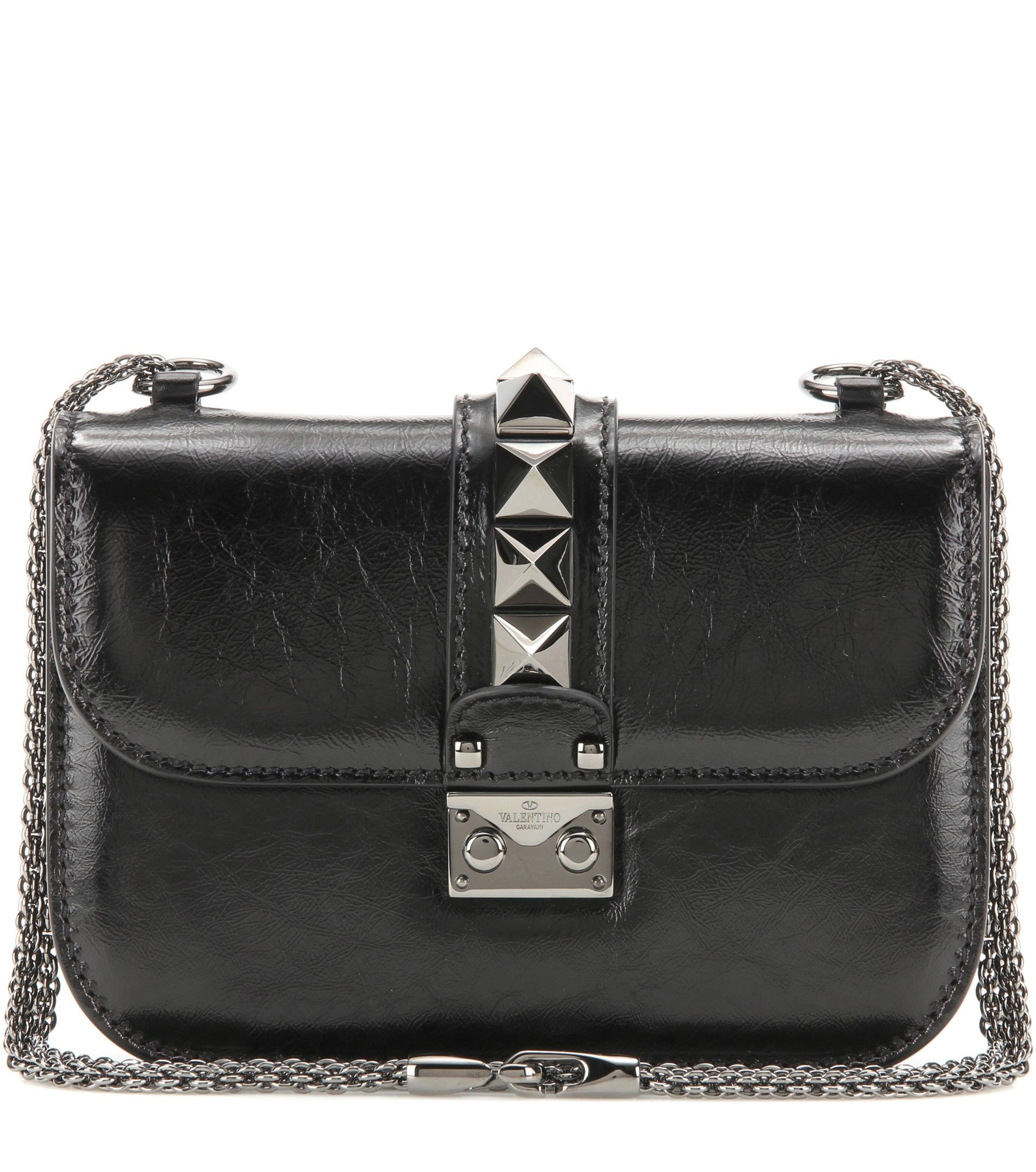 6a8730ce838 Valentino - Lock Noir Small leather shoulder bag - We love the compact  shape and signature