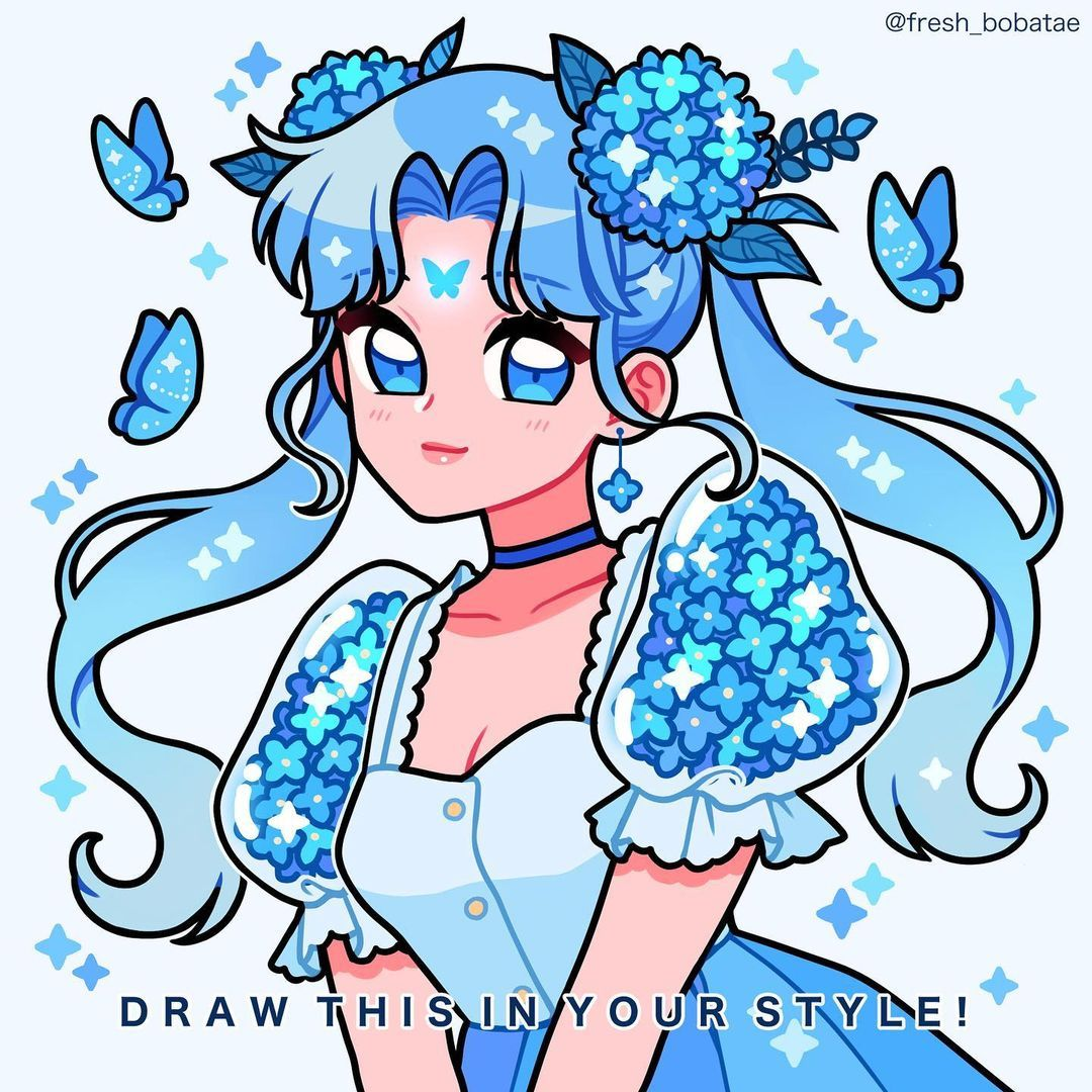 """Photo of Emily / Boba 🌊✨DTIYS ON! on Instagram: """"UPDATE: NO DEADLINE! DRAW THIS IN YOUR STYLE CHALLENGE! Comment 🦋🦋🦋 if you want to join! Rules below~  🦋RULES🦋 ✨Like, save, and…"""""""