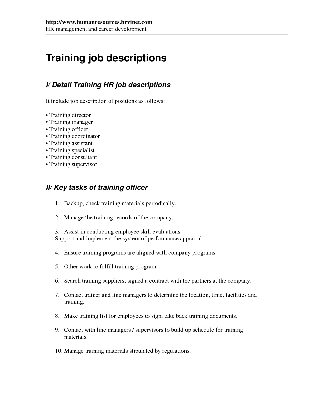 Training Job Description  Human Resources Job Description Resume