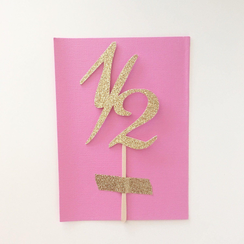 1 2 Birthday Glitter Cake Topper Smash Pick 6 Month Photography Prop Sparkly Half