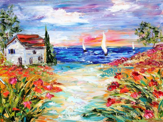 Original Oil Painting Villa By The Sea Palette Knife