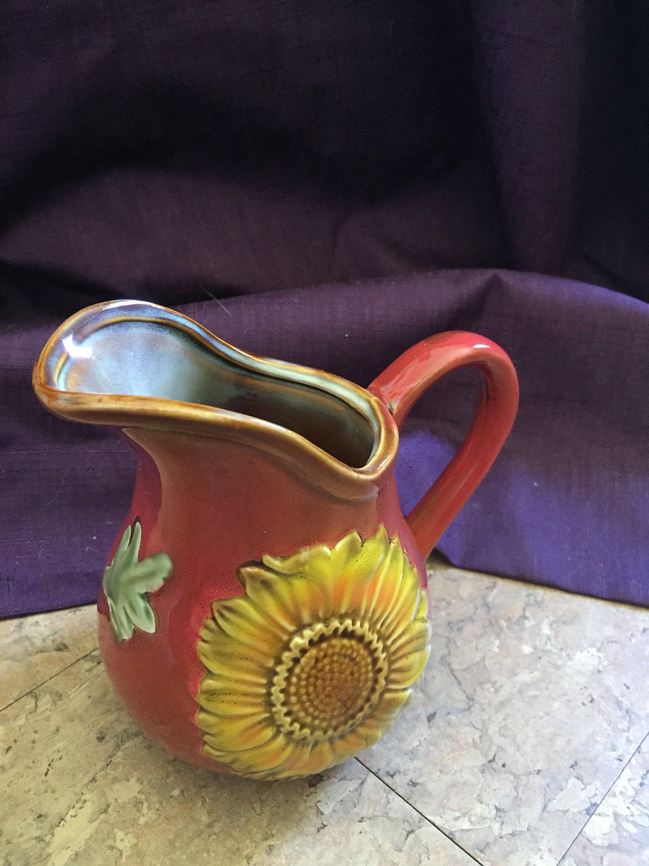 Vintage Sunflower Pitcher Red Orange Milk Jug Creamer