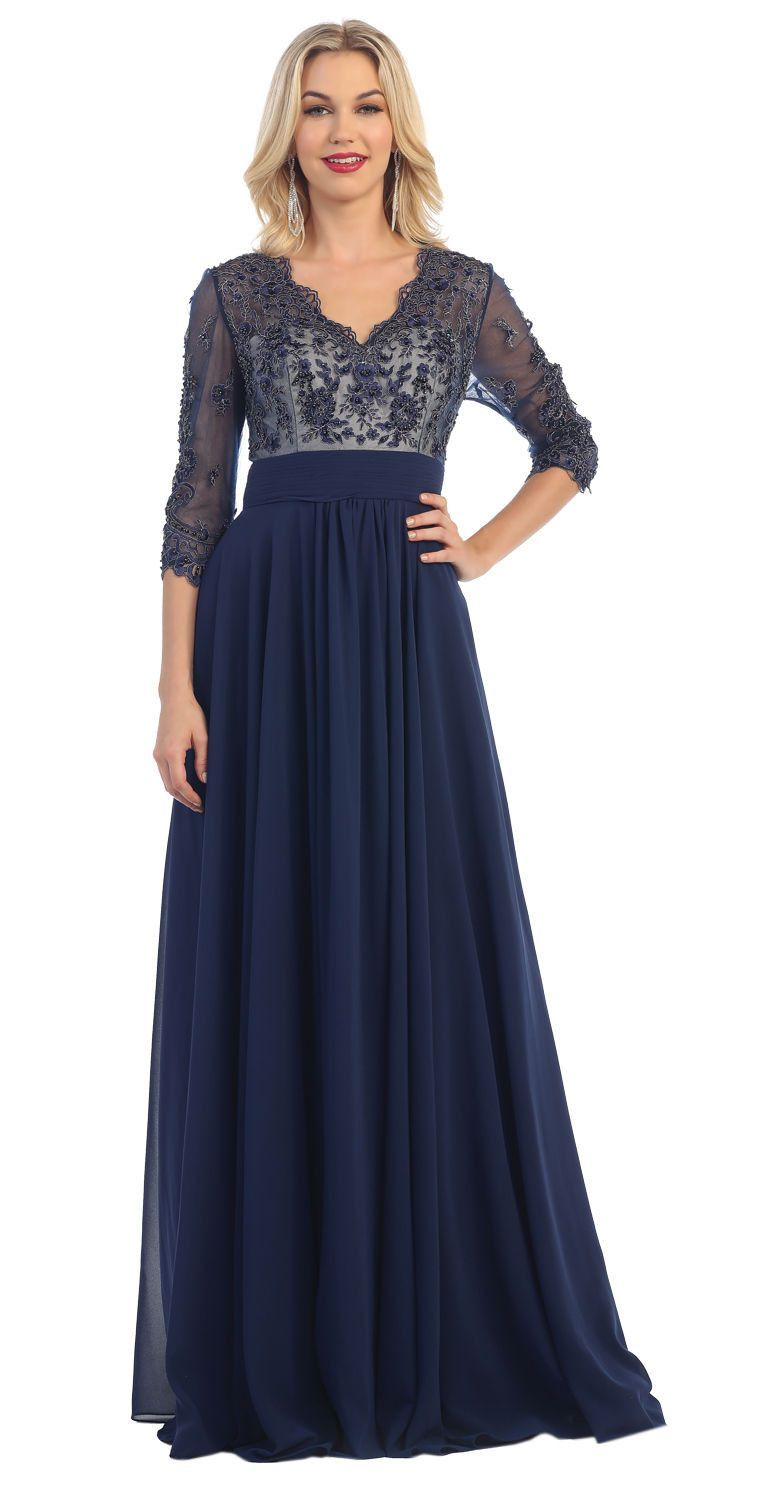Long mother of the bride formal dress with sleeves bridesmaid