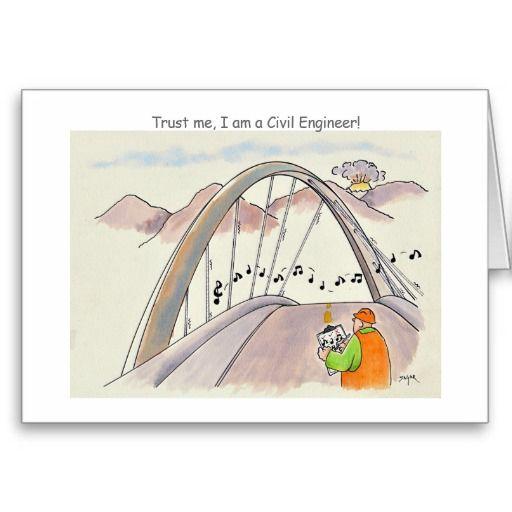 Funny Graduation Announcement Card Civil Engineer Guppi Toons - civil engineer