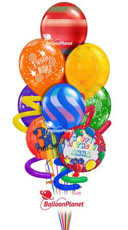 Jumbo Twisty Birthday Balloon Bouquet Name Optional Age Rainbow Prints 9 Balloons Helium Filled And Hand Delivered From 6995 Fees