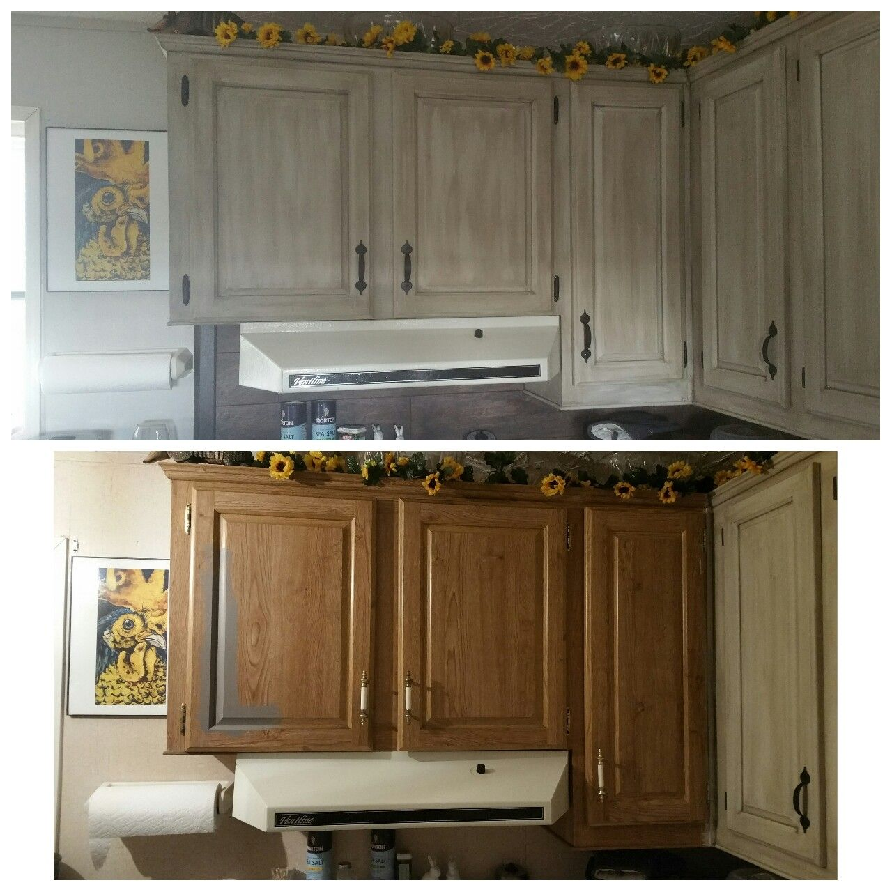 No More Cheap Mobile Home Cabinets I Painted Them Using Home Made Chalk Paint And Mobile Home Kitchen Cabinets Mobile Home Renovations Remodeling Mobile Homes