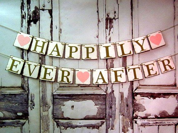 Wedding Banners, HAPPILY EVER AFTER Signs, Barn Wedding Decorations, Engagement Decor, Car Signs
