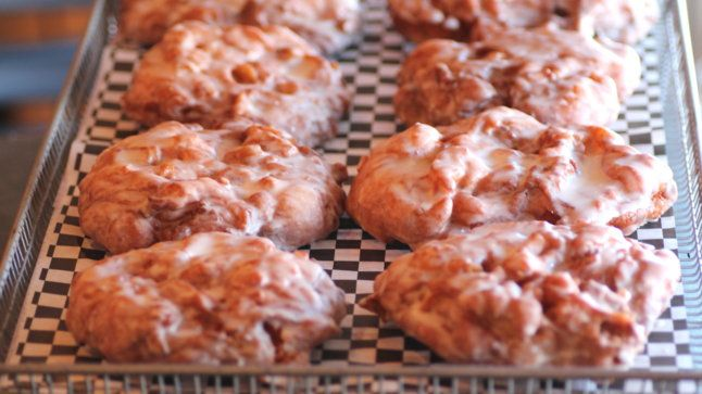Vanilla, bourbon, and (real) apple fritters from Glam Doll donuts