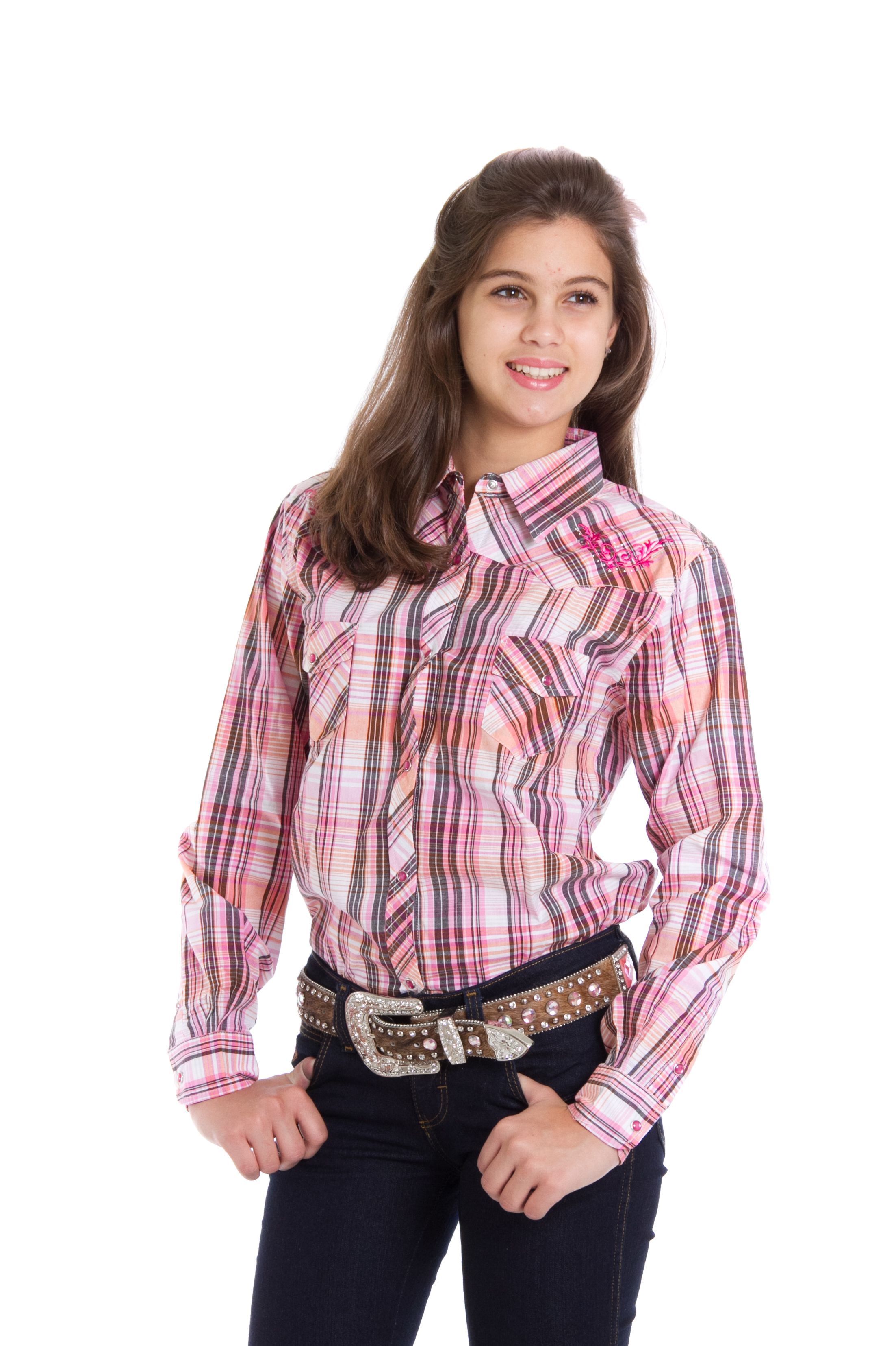 efb2370eb9 Camisa Infantil Feminina Xadrez Rosa Camisa manga longa importada feminina  Cowgirl Hardware.