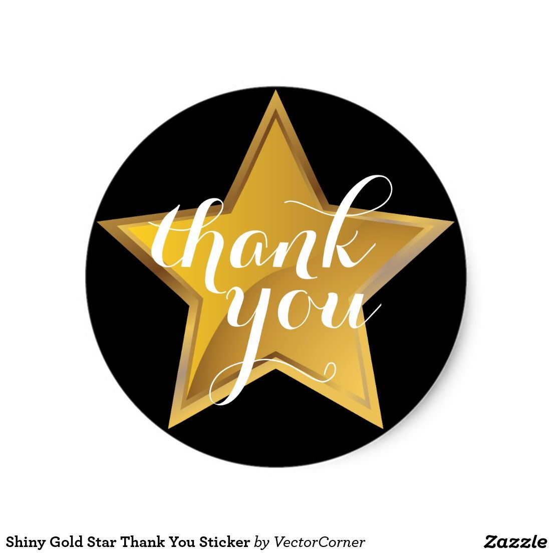 Shiny Gold Star Thank You Sticker