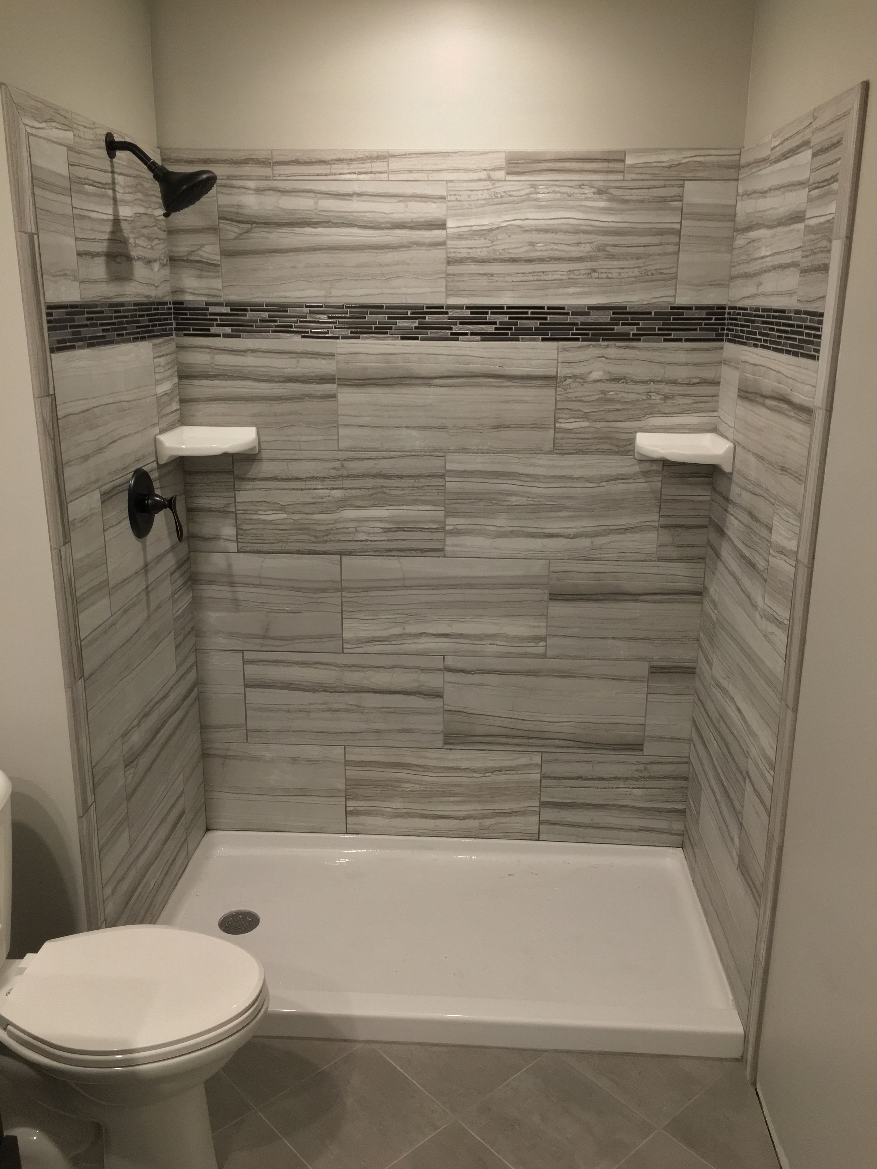 Tile shower Grigio from Home Depot