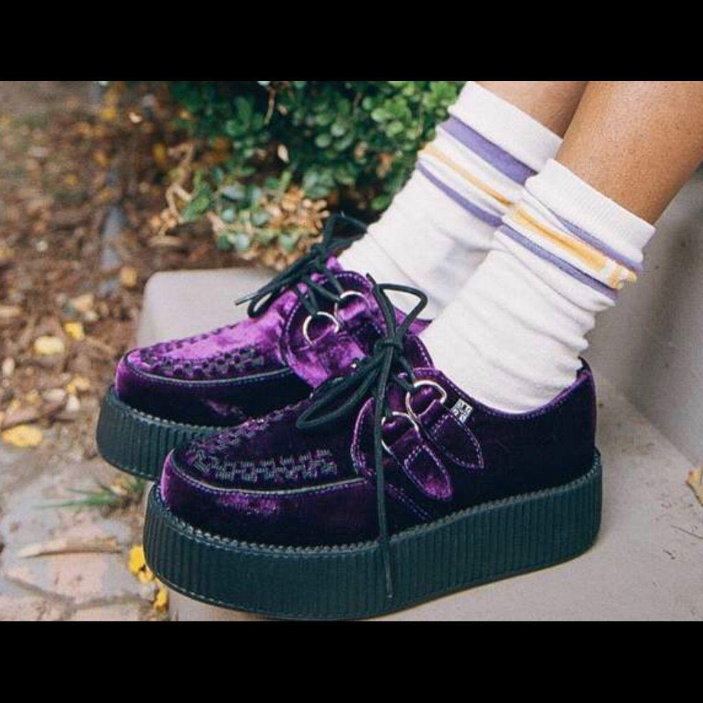 Shoes Violet Velvet High Sole Creeper T.U.K