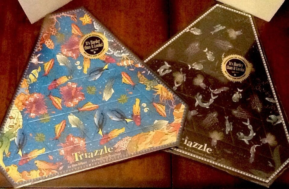 Triazzle Puzzles Dan Gilbert Lot Of 2 Diff Wrapped Fish