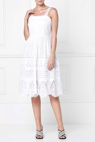 Buy White Broderie Midi Dress From The Next Uk Online Shop White Dress Midi Dress Dresses